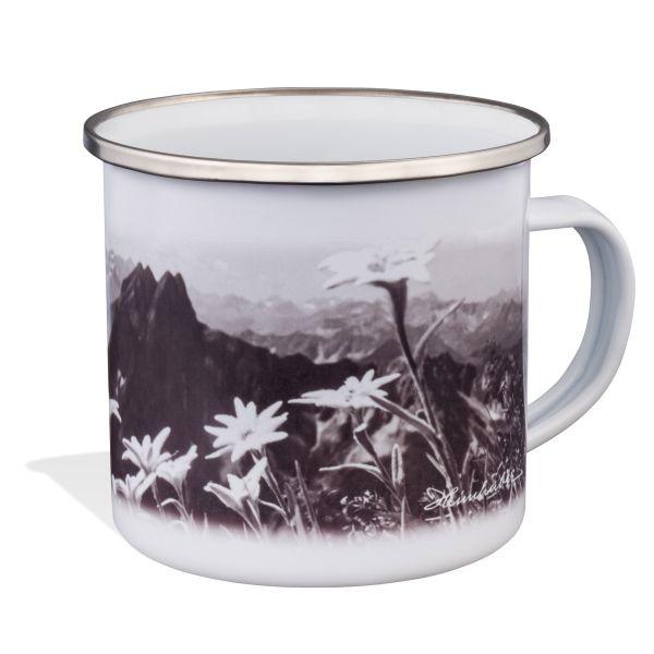 Emaille Tasse: Höfats mit Edelweiß