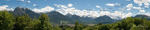 Bergpanorama mit Oberstdorf - beschriftet