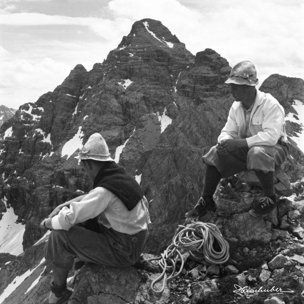 Bergsteiger vor dem Hochvogel