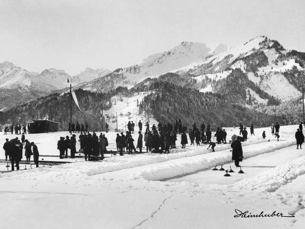 Eisstockschießen bei Oberstdorf 1920